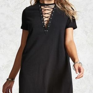 Forever 21 | Gray Lace Up T-shirt Dress size M